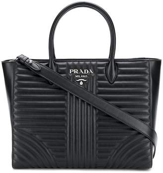 Prada leather Diagramme tote bag