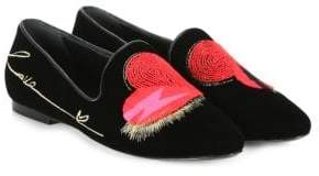 Saint Laurent Embroidered Heart Loafers