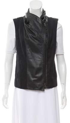 Vince Leather Panel Zip-Up Vest
