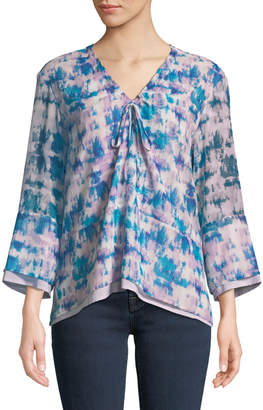 Donna Karan 3/4-Sleeve Tie-Dye Tiered Blouse