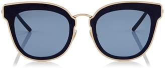 Jimmy Choo NILE Rose Gold Metal Cat-Eye Sunglasses with Blue Leather Detailing