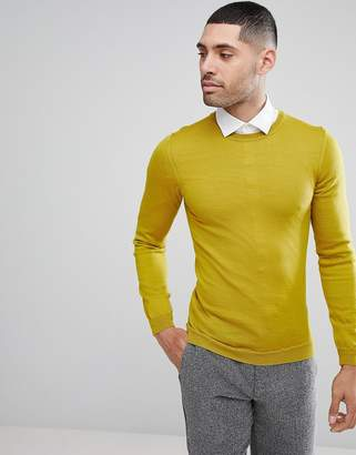 Asos DESIGN Muscle Fit Merino Wool Sweater In Yellow