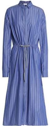 Stella Jean Striped Cotton-Poplin Midi Shirt Dress