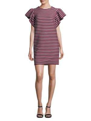 Peserico Striped Ruffle Sleeve Dress