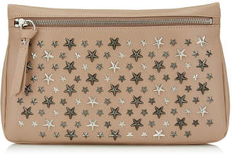 Jimmy Choo ZENA Ballet Pink Leather Pouch with Gunmetal Stars