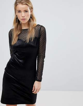 New Look Long Sleeve Fishnet Velvet Dress