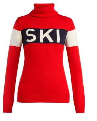 Perfect Moment - Ski Roll Neck Wool Sweater - Womens - Red Multi