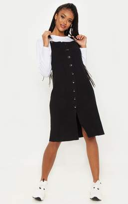 PrettyLittleThing Black Fine Knit Button Front Pinafore Midi Dress