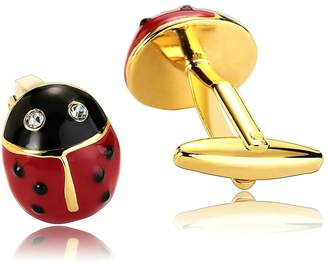 MoAndy Men's Cuff Links Stainless Steel Ladybug Shape Cubic Zirconia Gold Cufflinks For Boy