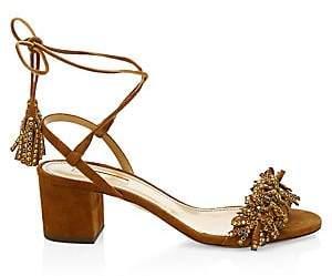 fcaccc24b91e Aquazzura Women s Wild Crystal Block Heel Suede Sandals