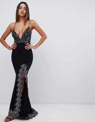 Love Triangle plunge front strappy back maxi dress with contrast lace applique in black