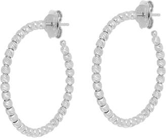 Italian Silver Diamond Cut Bead Hoop Earrings, Sterling
