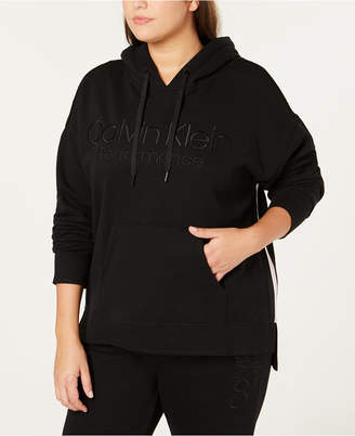 Calvin Klein Plus Size Logo French Terry Lined High-Low Hem Hoodie