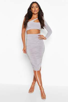 boohoo All Over Ruched Midi Skirt