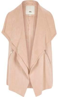River Island Girls cream sleeveless waterfall jacket