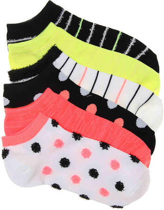 Mix No. 6 Fuzz Dot and Stripe No Show Socks - 6 - Women's