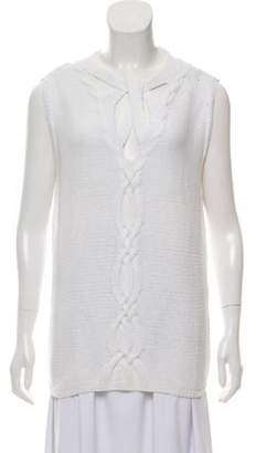 Oscar de la Renta Sleeveless Cable Knit Sweater w/ Tags White Sleeveless Cable Knit Sweater w/ Tags