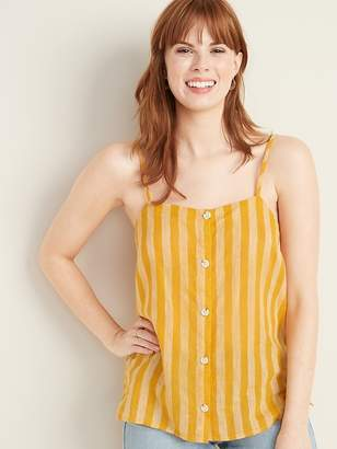 Old Navy Striped Button-Front Linen-Blend Cami for Women