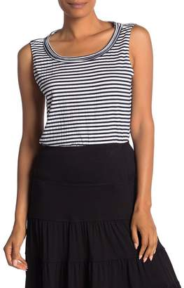 Max Studio Stripe Print Cinched Drawstring Tank Top