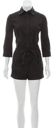 Prada Long Sleeve Button-Up Romper