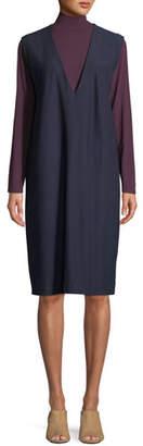 Eileen Fisher Sleeveless V-Neck Crepe Shift Dress