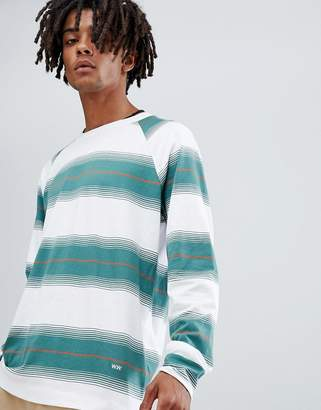 Wood Wood Han striped long sleeve t-shirt in white