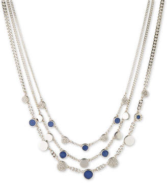 """DKNY Silver-Tone Stone & Pave Triple Layer Statement Necklace, 16"""" + 3"""" extender"""