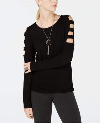 BCX Juniors' Lattice-Sleeve Attached-Necklace Top