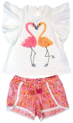 Jessica Simpson Printed Flutter Sleeve Top and Shorts Set