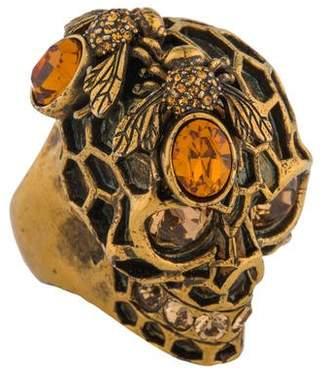 Alexander McQueen Honeycomb Skull Ring