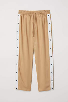 H&M Wide Pants with Snap Fasteners - Beige - Women