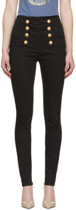Balmain Black Eight-Button Skinny Jeans