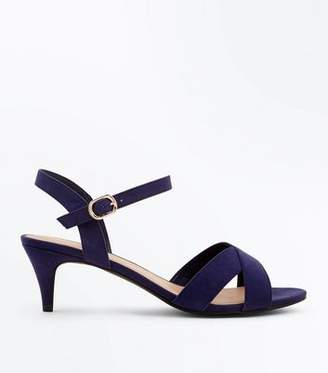 efc28ebb9113 New Look Wide Fit Navy Suedette Kitten Heel Sandals