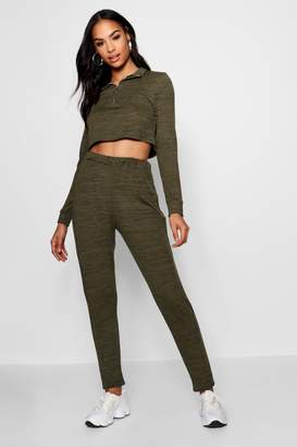 boohoo Funnel Neck Zip Crop Knitted Co-ord
