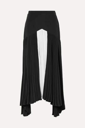 e3b1dc2d13 Givenchy Asymmetric Pleated Two-tone Silk Crepe De Chine Maxi Skirt - Black