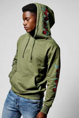 boohoo Over The Head Hoodie With Floral Embroidery