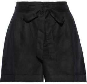 Tart Collections Wesley Pleated Linen And Tencel-blend Shorts
