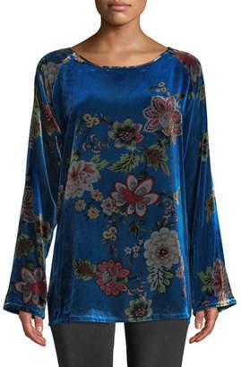 Johnny Was Karmen Long-Sleeve Floral-Print Velvet Tunic, Plus Size