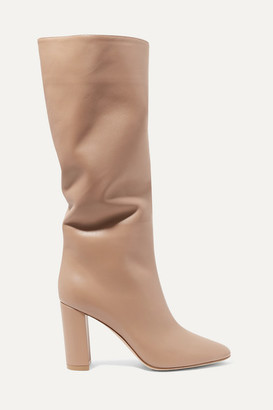 Gianvito Rossi Laura 85 Leather Knee Boots - Taupe