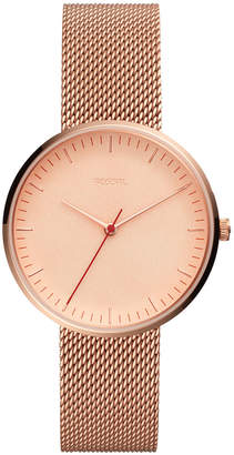 Fossil Women's Essentialist Rose Gold-Tone Stainless Steel Mesh Bracelet Watch 38mm