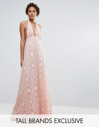 True Decadence Tall Cutwork Lace Halterneck Full Prom Maxi Dress $112 thestylecure.com