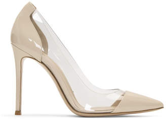 Gianvito Rossi Off-White Patent and PVC Plexi Heels