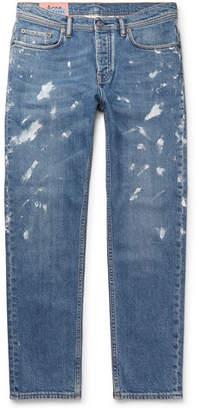 Acne Studios River Tapered Paint-Splattered Stretch-Denim Jeans