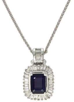 Effy 14K White Gold, Sapphire & Diamond Pendant Necklace