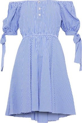 Caroline Constas Bardot Off-the-shoulder Gingham Cotton-seersucker Mini Dress