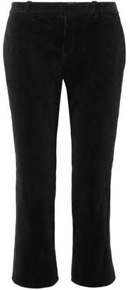 Saint Laurent Cropped Cotton-corduroy Flared Pants - Black
