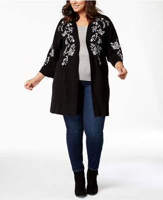Belldini Plus Size Floral-Embroidered Duster Cardigan