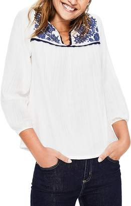 Boden Embroidered Yoke Cotton Peasant Top
