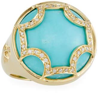 Elizabeth Showers Diamond & turquoise Maltese Canopy Ring, Size 7