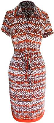 Couture Peach Boho Floral V Neck 3/4 Button Sleeves Shift Dress (M, )